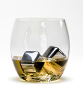 Steel Ice Cubes in Glass