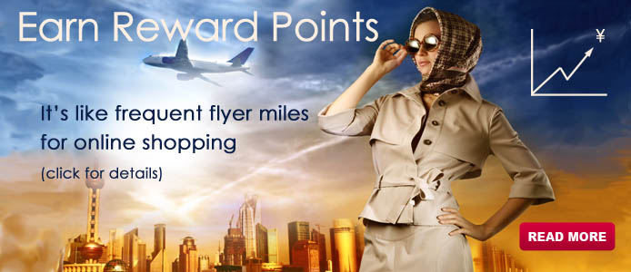 Join our loyalty program and SAVE. It's like frequent flyer miles for online shopping. Earn points after every purchase. Earn points by introducing your friends. (read more for details)